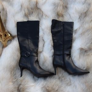 NINE WEST Pointy Leather High Heel Boots Sz 9.5